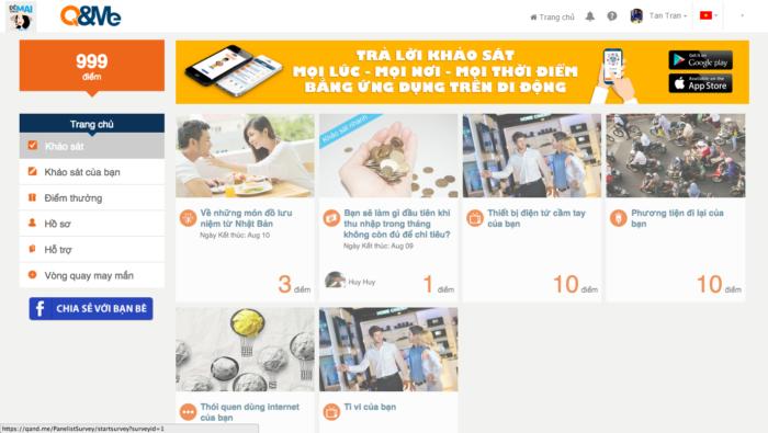 Hướng dẫn cách đăng ký tài khoản, khảo sát nhận quà trên trang Q&Me