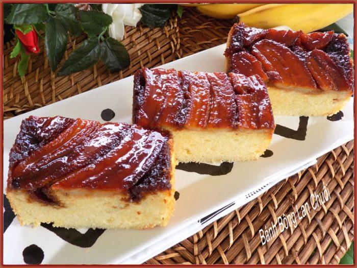 Mê mẩn cách làm bánh bông lan chuối caramel ngon quên lối về