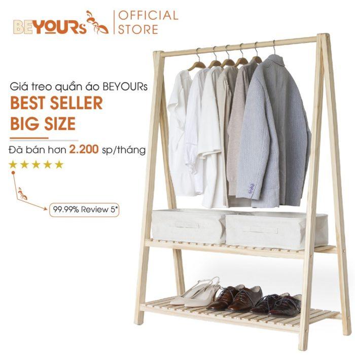 Giá treo quần áo gỗ BEYOURs  2 tầng size lớn giá tốt nhất hôm nay
