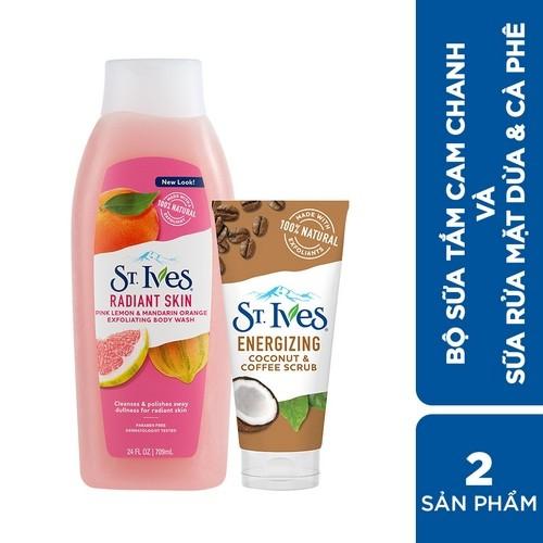 Combo Sữa tắm St.Ives Cam Chanh 709ml và Sữa rửa mặt tẩy tế bào da chết St.Ives Cafe và Dừa 170g - Deal từ Unilever
