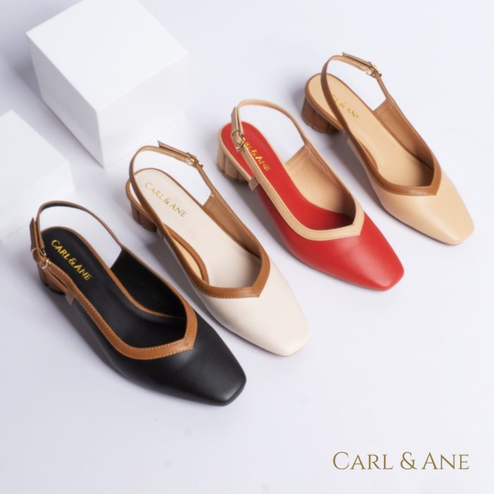 Giày cao gót nữ kiểu dáng bít mũi phối dây đơn giản thời trang màu kem nhạt Carl & Ane giá tốt nhất