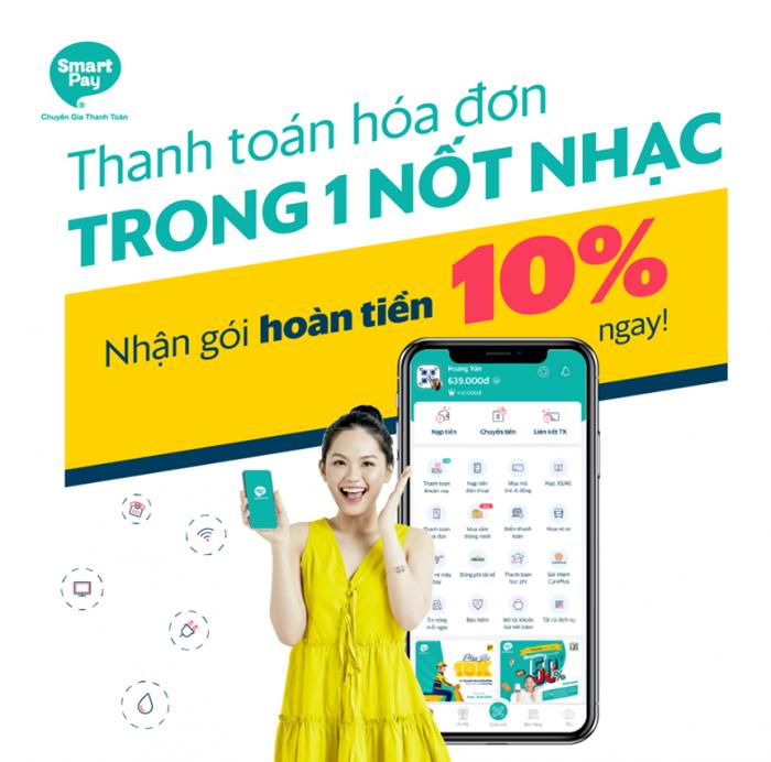 Deal hoàn tiền siêu khủng đến 10% khi thực hiện thanh toán hóa đơn Điện/Nước/Internet/Cáp truyền hình qua ví SmartPay