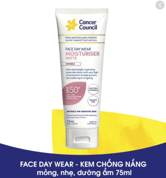 Kem chống nắng Cancer Council Face Day Moisturizer  SPF50+ UVA-UVB 75ml giảm 13%