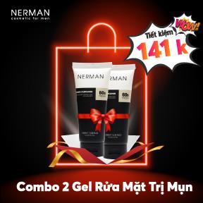 Combo 2 Gel rửa mặt trị mụn Nerman Nano Curcumin 60s Fresh siêu tiết kiệm